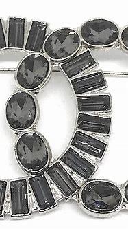 Chanel Grey Rhinestone Logo Pin For Sale at 1stdibs