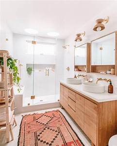 Midcentury, Modern, Bohemian, Bathroom, With, Plants, And, Chic