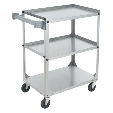 steel utility cart stainless shelf knocked vollrath down