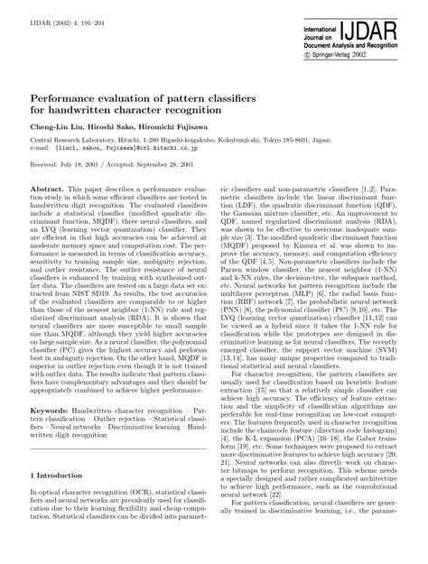 Performance evaluation of pattern classifiers for