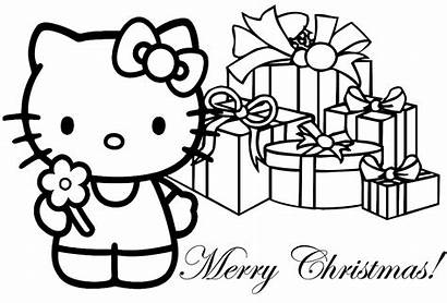 Coloring Christmas Merry Pages Kitty Hello Printable