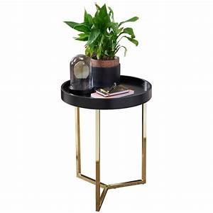Couchtisch Schwarz Rund : wohnling design beistelltisch eva 40x51x40cm couchtisch rund schwarz gold designer ~ Orissabook.com Haus und Dekorationen