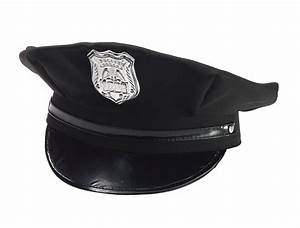 Black Police Hat Cap Man Policeman Cop Hat W/ Badge Adult