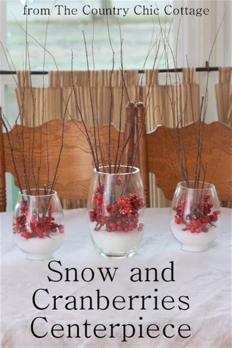 snow  cranberries centerpiece  country chic cottage