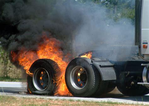 Truck Tire Fire Sends Black Smoke Up Near I-20