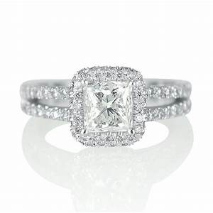 2 carat solitaire princess cut diamond engagement ring g h for Princess cut solitaire engagement ring with wedding band