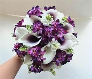 White & Plum/Purple Calla Lily Bouquet, Bridal Bouquet ...