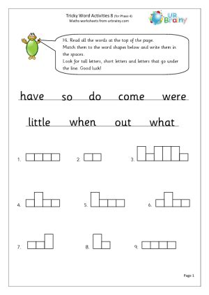 phase 3 tricky words printable worksheets worksheets