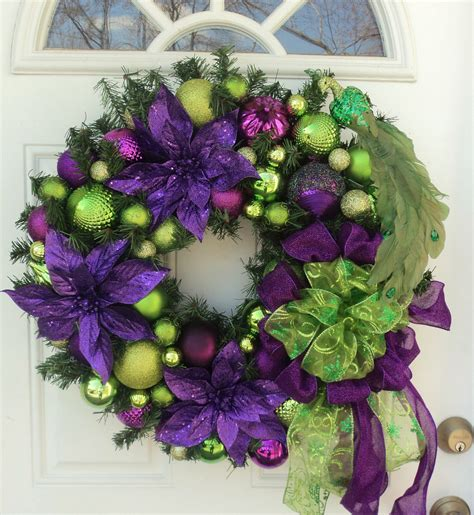 peacock purple lime green christmas wreath home decor purple