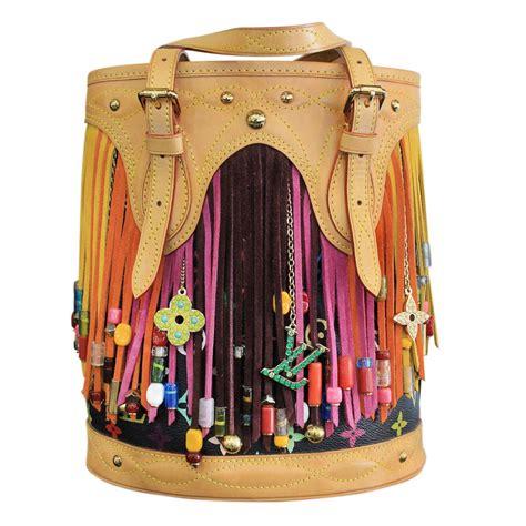 louis vuitton multicolore canvas fringe bucket bag  stdibs