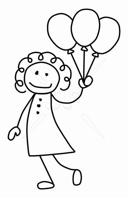 Stick Drawing Balloons Clip Figures Figure Easy