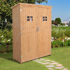 Outsunny, Wooden, Garden, Shed, Tool, Storage, Cabinet, Double, Door, Shelf, Natural, Wood, 5056029803639
