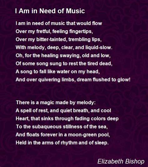 in a nod to i am in need of poem by elizabeth bishop poem