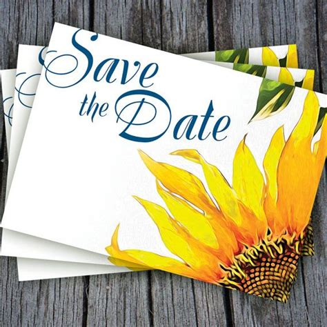Sunflower Save The Date Postcard Template in Blue and