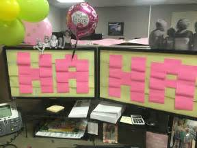 Work decoration, birthday, cubicle, balloon, sticky note