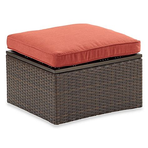 Outdoor Wicker Storage Ottoman by Stratford Wicker Storage Ottoman Bed Bath Beyond