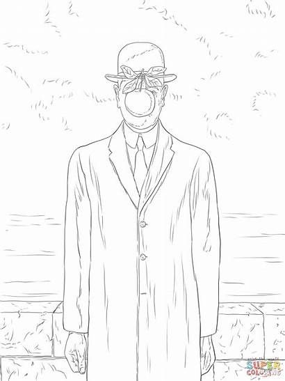 Magritte Rene Son Coloring Pages Drawing Paintings