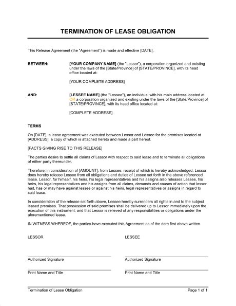 termination  lease obligation template sample form