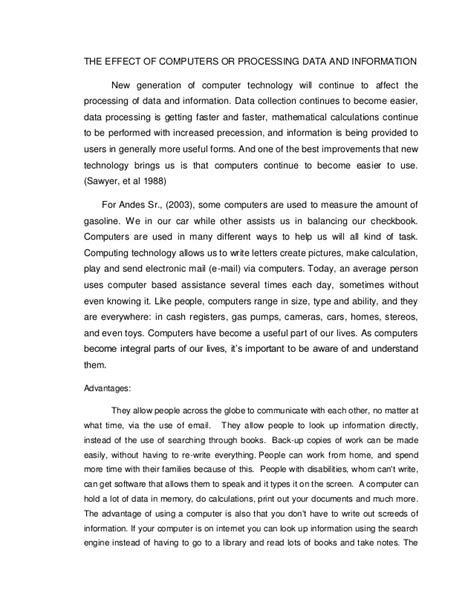 Advantage Of Computer Technology Essay by Essay On Benefits Of Computer