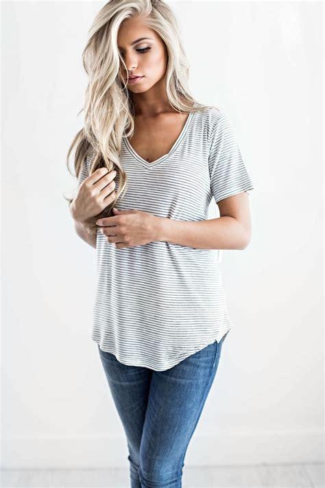 Fashion Silket V Neck striped v neck tees stripes soft tees shop jessakae