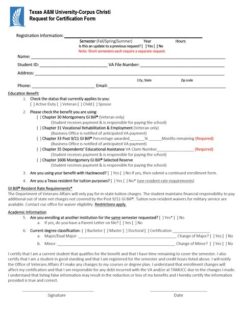 veterans registration form certification texas a m university corpus christi