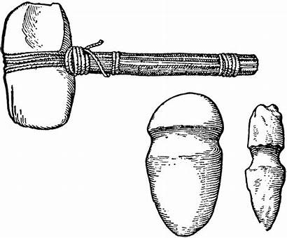 Stone Tools Clipart Age Neolithic Mallets Drawing