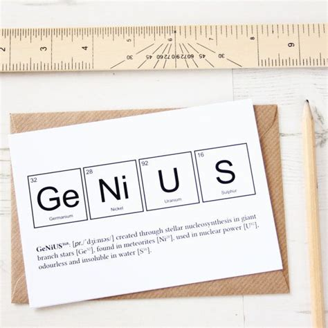 funny genius elements card periodic table greeting