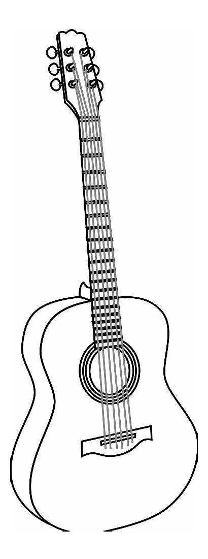 Guitar Coloring Pages Drawing Acoustic Printable Cliparts