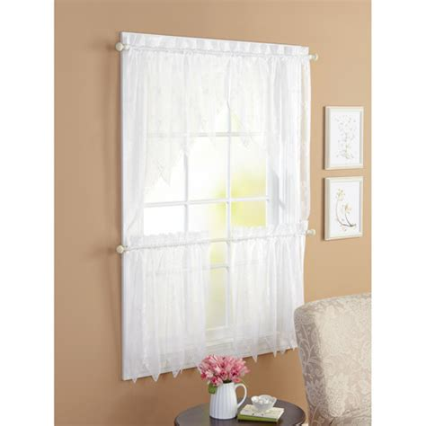 walmart canada lace curtains better homes and gardens 3pc lace window set white
