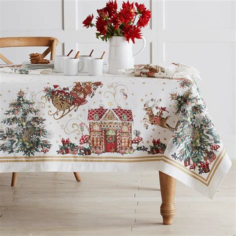christmas tablecloth twas the night before christmas tablecloth williams sonoma