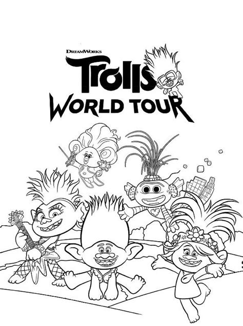 kids  funcom coloring page trolls world  dreamworks trolls world