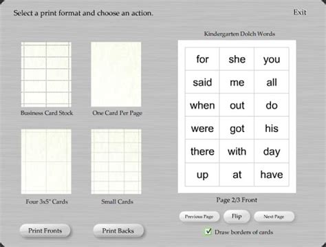 word template flash cards doctemplates