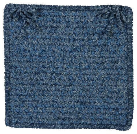 braided simple chenille square blue chair pad farmhouse
