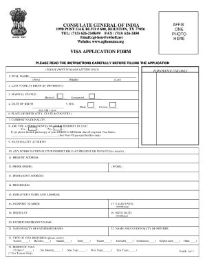 consulate general of india houston visa application form india visa application form fill online printable