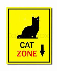 Sign of cat zone isolated on white background | Stock ...
