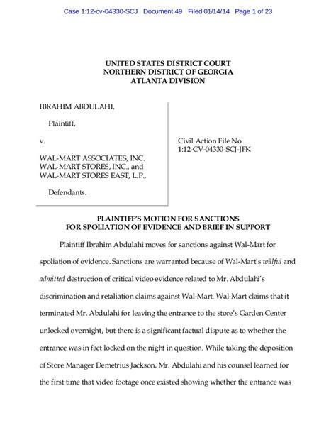 Motion for Sanctions Against Wal-Mart