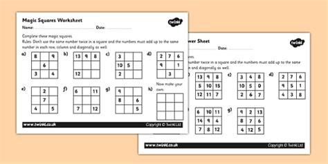 magic squares worksheet activity sheet magic squares