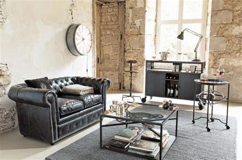 canap style chesterfield décorer un salon dans le style industriel joli place