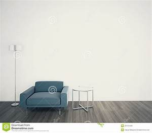 Minimal modern interior armchair face a blank wall stock for Home interior wall design 2