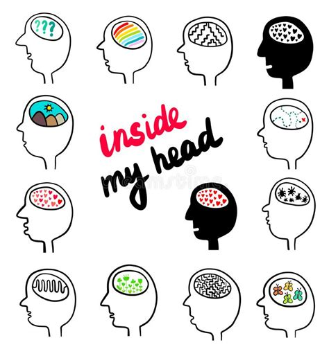 Human Head With Different Colorful Hears Inside Brain Hand