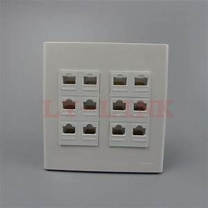120 X 120mm Face Plate 12 Ports Rj45 Wall Plate Network