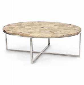 palecek mosaic industrial loft petrified wood cream oval With cream and wood coffee table