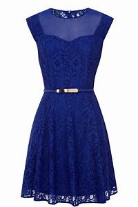 Oasis Savannah Lace Skater Dress in Blue | Lyst