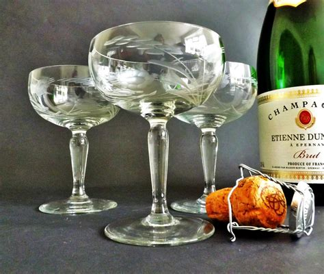 Champagne Coupes Saucers 3 Crystal Etched Prosecco