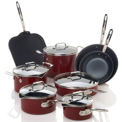 emeril   clad esd hard enamel  piece cookware set red wwwyourcookwarehelpercom