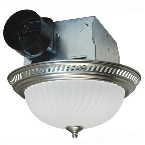 bathroom exhaust fan with light home depot air king decorative nickel 70 cfm ceiling exhaust fan with