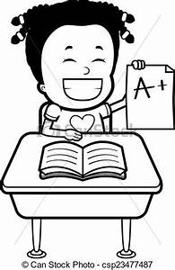 Vector of Student Grades A happy cartoon student with