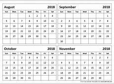 August November 2018 Calendar Qualads