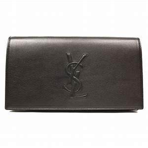 YSL Belle de Jour Black Leather Large Clutch Bag - One ...