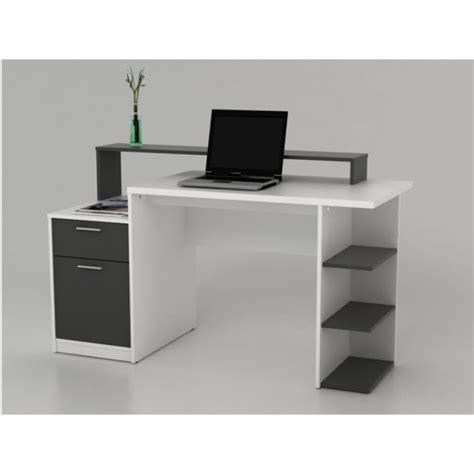 bureau gris bureau avec rangements zacharie blanc et gris achat